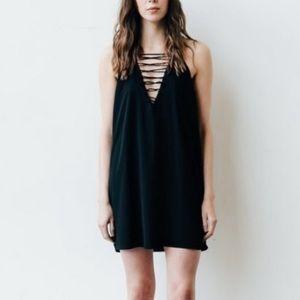 Brunette The Label Lace Front Mini Black Dress